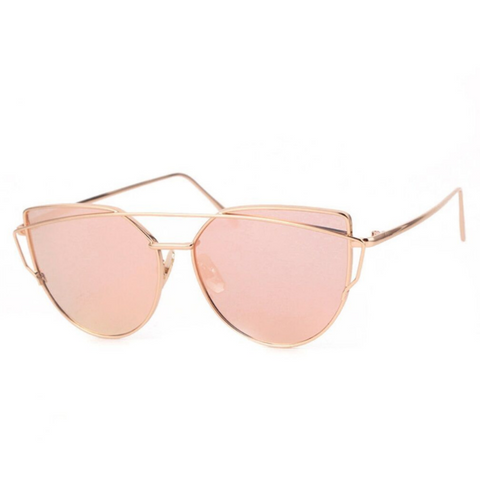 Ultra Mirrored Double Bar Sunglasses - Rose Gold