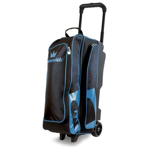 Brunswick Blitz Triple Roller Black Blue Bowling Bag-DiscountBowlingSupply.com