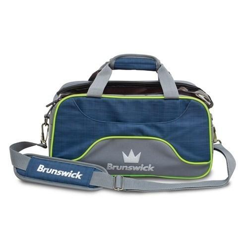 Brunswick Crown Deluxe Double Tote Navy Lime - DiscountBowlingSupply.com