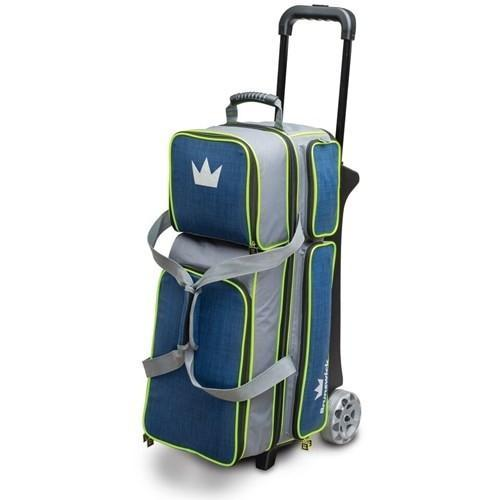 Brunswick Crown Deluxe Triple Roller Navy Lime-Bowling Bag-DiscountBowlingSupply.com