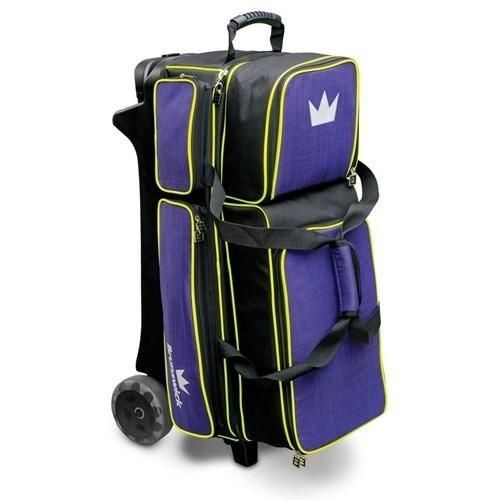 Brunswick Crown Deluxe Triple Roller Purple Yellow-Bowling Bag-DiscountBowlingSupply.com