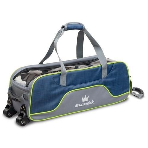 Brunswick Crown Deluxe Triple Tote Navy Lime - DiscountBowlingSupply.com