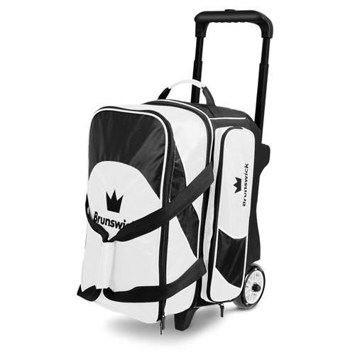 Brunswick Edge Double Roller White Black Bowling Bag-DiscountBowlingSupply.com