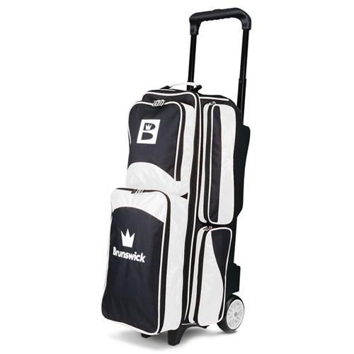 Brunswick Edge Triple Roller White Black Bowling Bag-DiscountBowlingSupply.com