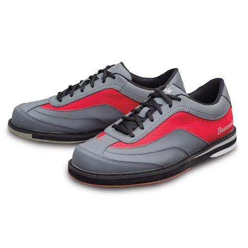 Brunswick Mens Rampage Interchangeable Left Hand Grey Red Bowling Shoes-DiscountBowlingSupply.com
