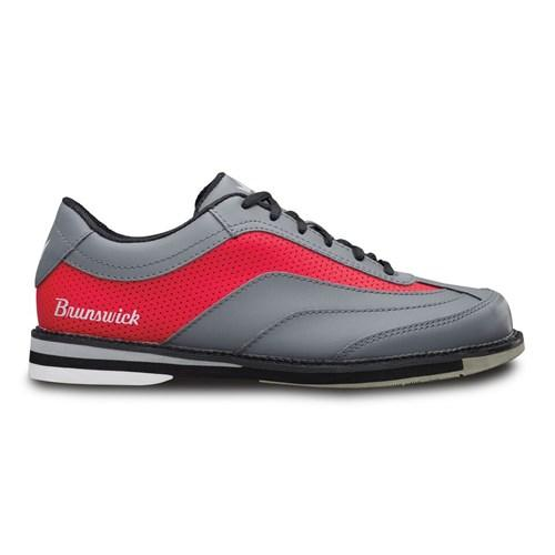 Brunswick Mens Rampage Interchangeable Right Hand Grey Red Bowling Shoes-DiscountBowlingSupply.com