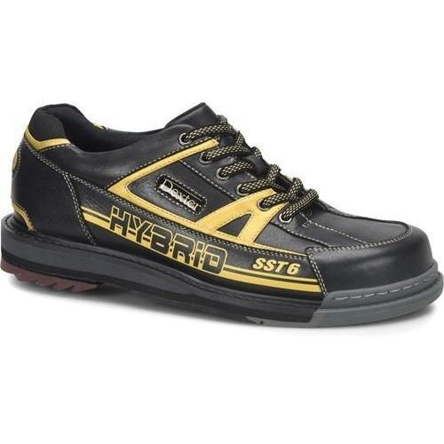 Dexter Mens SST 6 Hybrid Black Gold Right Hand Wide Bowling Shoes - DiscountBowlingSupply.com