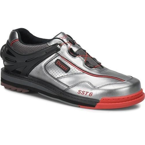 Dexter Mens SST 6 Hybrid BOA Grey Black Red Left Hand Bowling Shoes - DiscountBowlingSupply.com