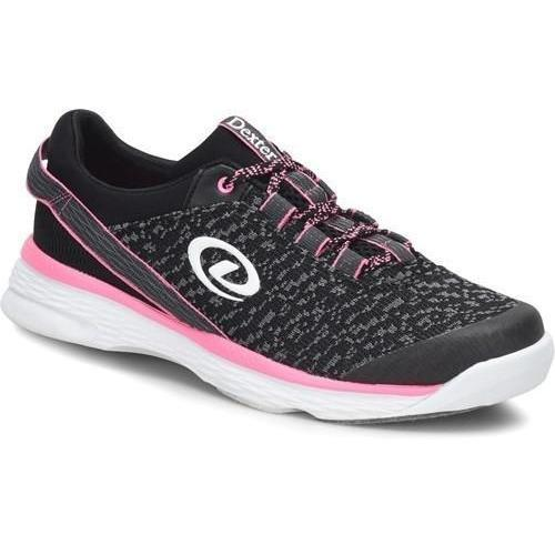 Dexter Womens Jenna II Black Grey Pink Bowling Shoes - DiscountBowlingSupply.com