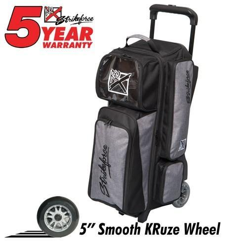 KR Krush Stone Black Triple Roller-Bowling Bag-DiscountBowlingSupply.com