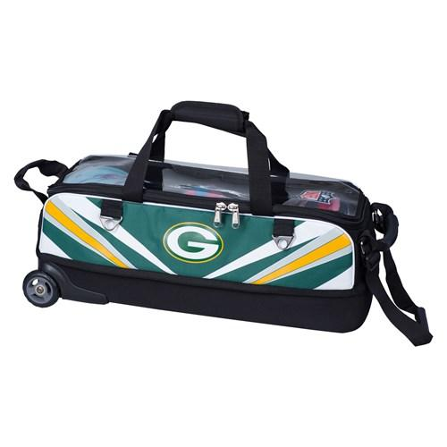 KR NFL Slim Triple Roller Green Bay Packers Bowling Bag-DiscountBowlingSupply.com