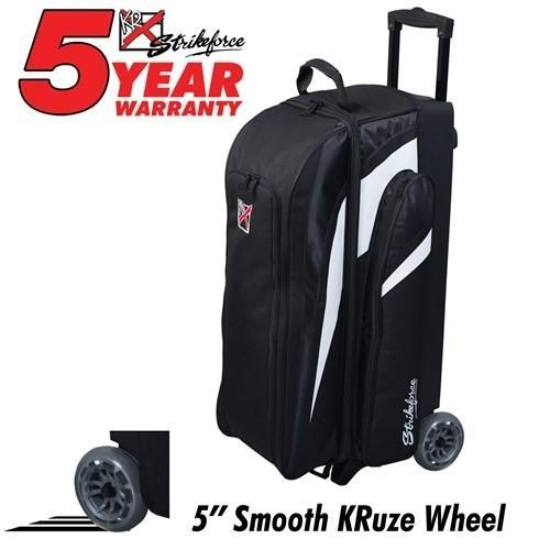 KR Strikeforce Cruiser Smooth Triple Roller Black/White-Bowling Bag-DiscountBowlingSupply.com