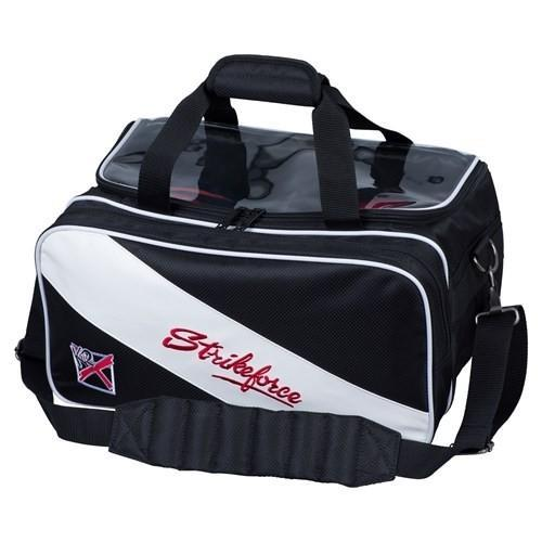 KR Strikeforce Fast Double Tote With Shoes Black White - DiscountBowlingSupply.com