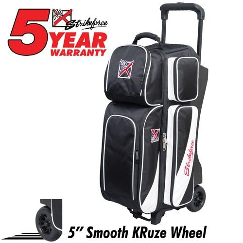 KR Strikeforce Fast Triple Roller Black/White-Bowling Bag-DiscountBowlingSupply.com