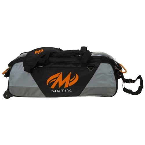 Motiv Ballistix Triple Tote Roller Black Orange Bowling Bag-DiscountBowlingSupply.com