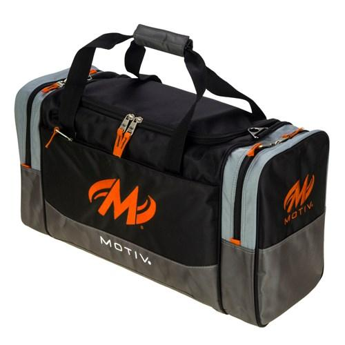 Motiv Shock Double Tote Black Orange Bowling Bag-DiscountBowlingSupply.com
