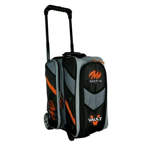 Motiv Vault Double Roller Black Orange Bowling Bag-DiscountBowlingSupply.com