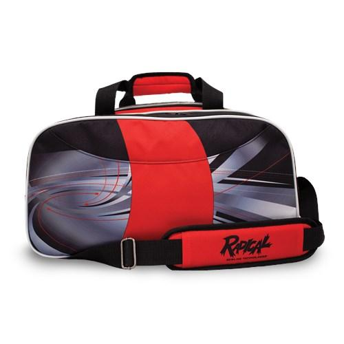 Radical Dye-Sub Double Tote Black Red Bowling Bag-DiscountBowlingSupply.com