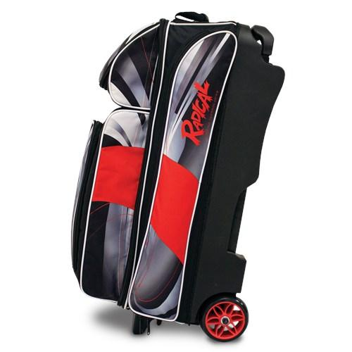 Radical Triple Roller Dye-Sub Black Red Bowling Bag-DiscountBowlingSupply.com
