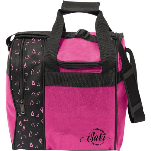 SaVi Pink Hearts Single Tote Bowling Bag - DiscountBowlingSupply.com