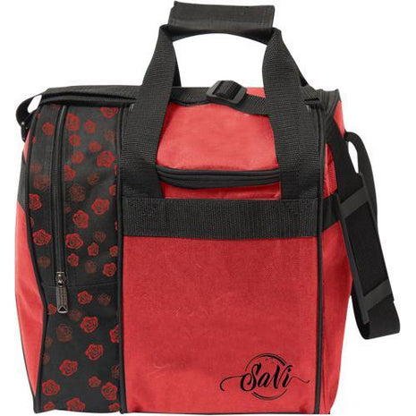 SaVi Red Rose Single Tote Bowling Bag - DiscountBowlingSupply.com