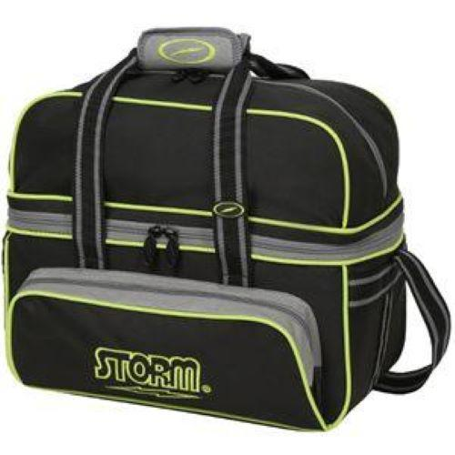 Storm 2 Ball Deluxe Tote Grey Black Lime Bowling Bag-DiscountBowlingSupply.com