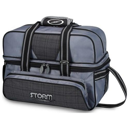 Storm 2 Ball Deluxe Tote Plaid Grey Black-Bowling Bag-DiscountBowlingSupply.com
