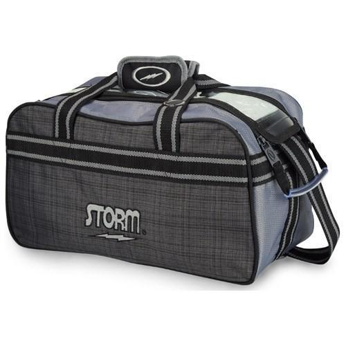 Storm 2 Ball Tote Charcoal Plaid Grey Black-Bowling Bag-DiscountBowlingSupply.com