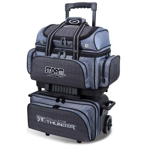 Storm 4 Ball Rolling Thunder Charcoal Plaid Grey Black-Bowling Bag-DiscountBowlingSupply.com