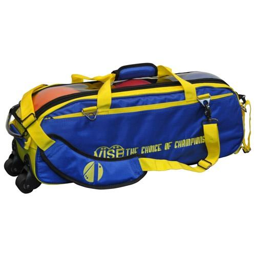 Vise 3 Ball Clear Top Tote Roller Blue Yellow-Bowling Bag-DiscountBowlingSupply.com