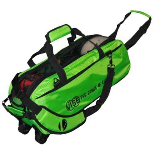 Vise 3 Ball Clear Top Tote Roller Green-Bowling Bag-DiscountBowlingSupply.com