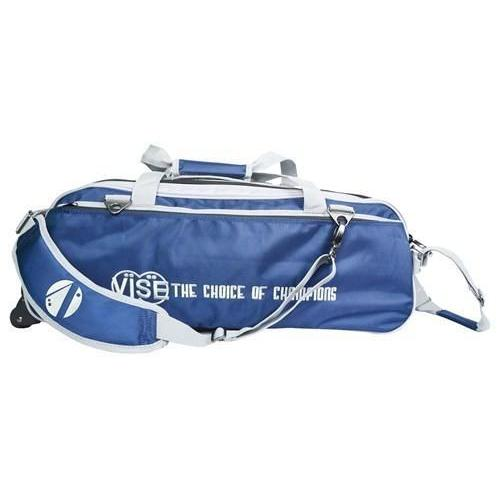 Vise 3 Ball Clear Top Tote Roller Navy Silver-Bowling Bag-DiscountBowlingSupply.com