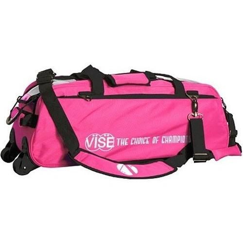 Vise 3 Ball Clear Top Tote Roller Pink-Bowling Bag-DiscountBowlingSupply.com