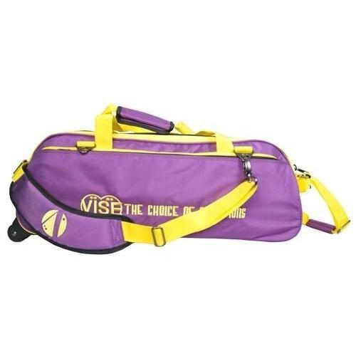 Vise 3 Ball Clear Top Tote Roller Purple Yellow-Bowling Bag-DiscountBowlingSupply.com