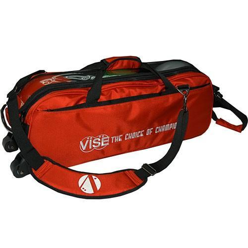 Vise 3 Ball Clear Top Tote Roller Red-Bowling Bag-DiscountBowlingSupply.com