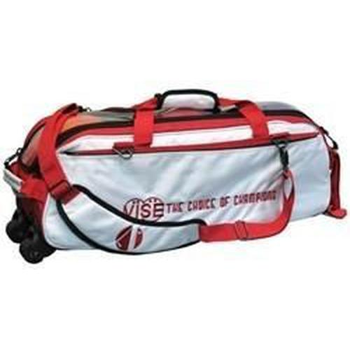 Vise 3 Ball Clear Top Tote Roller White Red-Bowling Bag-DiscountBowlingSupply.com