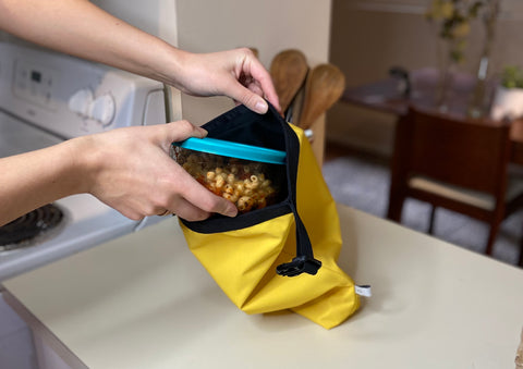 packing lunch, how to reduce waste, food waste reduction, yellow lunch bag