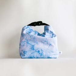 blue marbled lunch bag for work