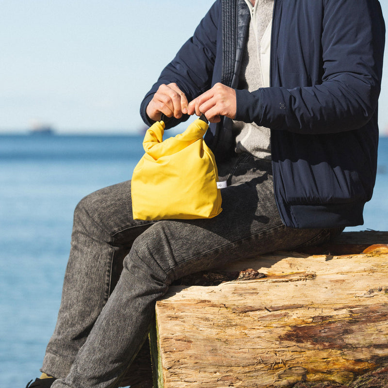 mustard print lunch bag for men