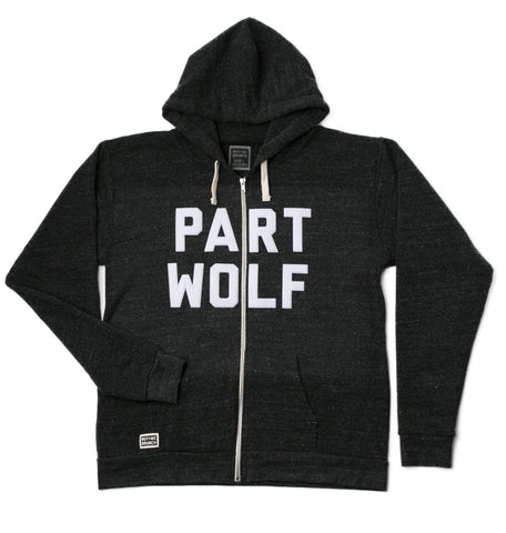 part wolf zip up hoody
