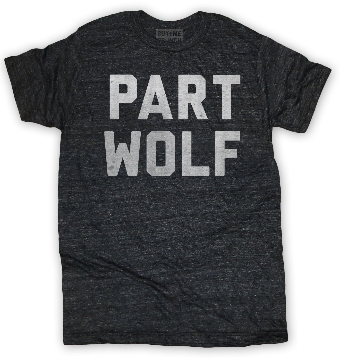 Buy Me: Men's Part Wolf T-Shirt In Charcoal Tri-Blend Gray