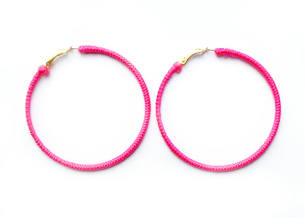 XL NYLON HOOP EARRINGS LA REUNION JEWELRY