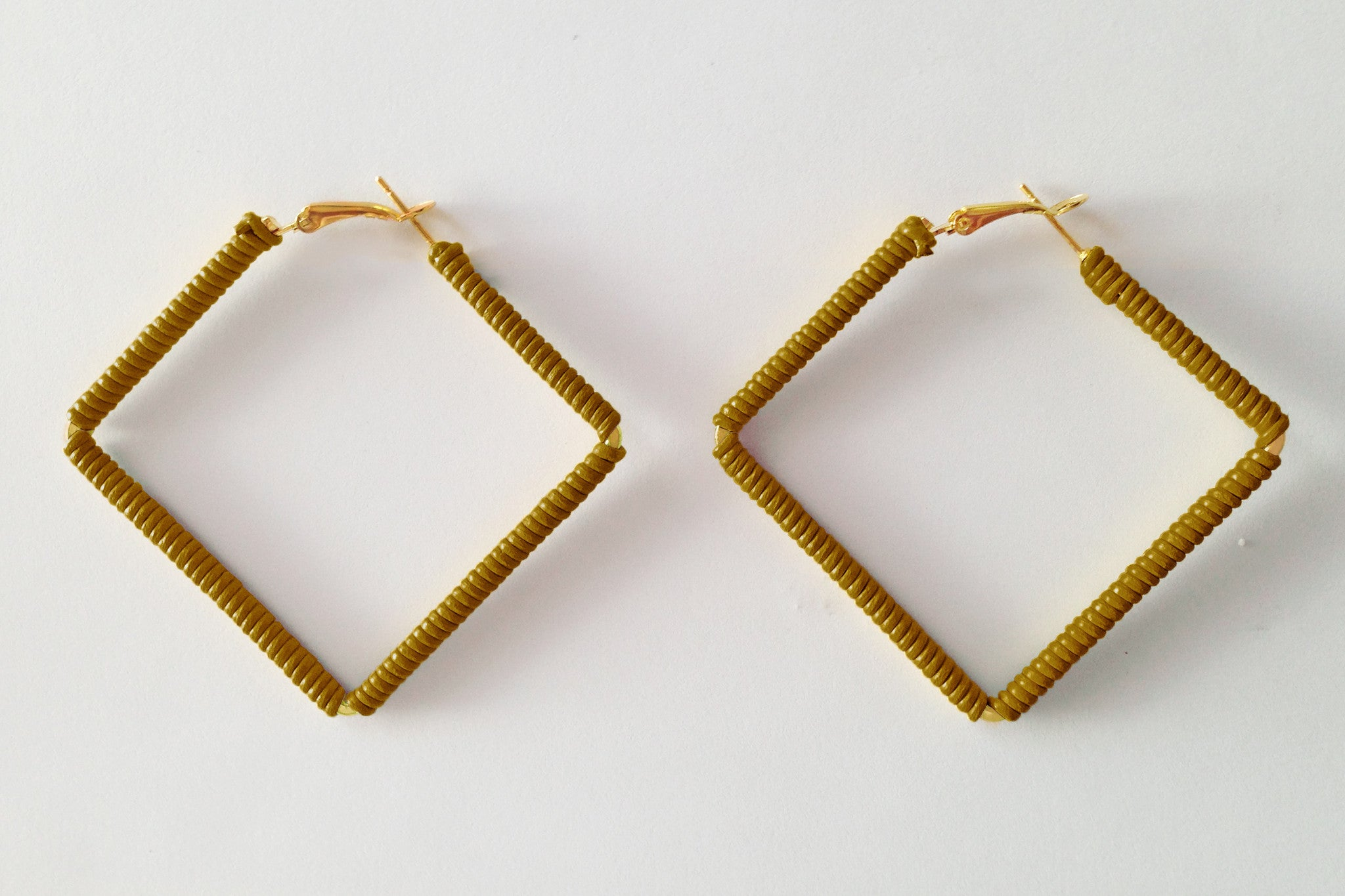 Square Tan Hoops
