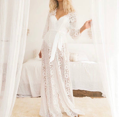 Long Soft Lace Robe (3023)-preorder closing April 14th