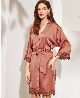 Lace Trimmed Satin Robe (3031)-preorder closing April 14th