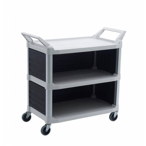 Trust Utility Cart, 3 Tier Service Trolley with 3 Enclosed Sides - RT4023-OW