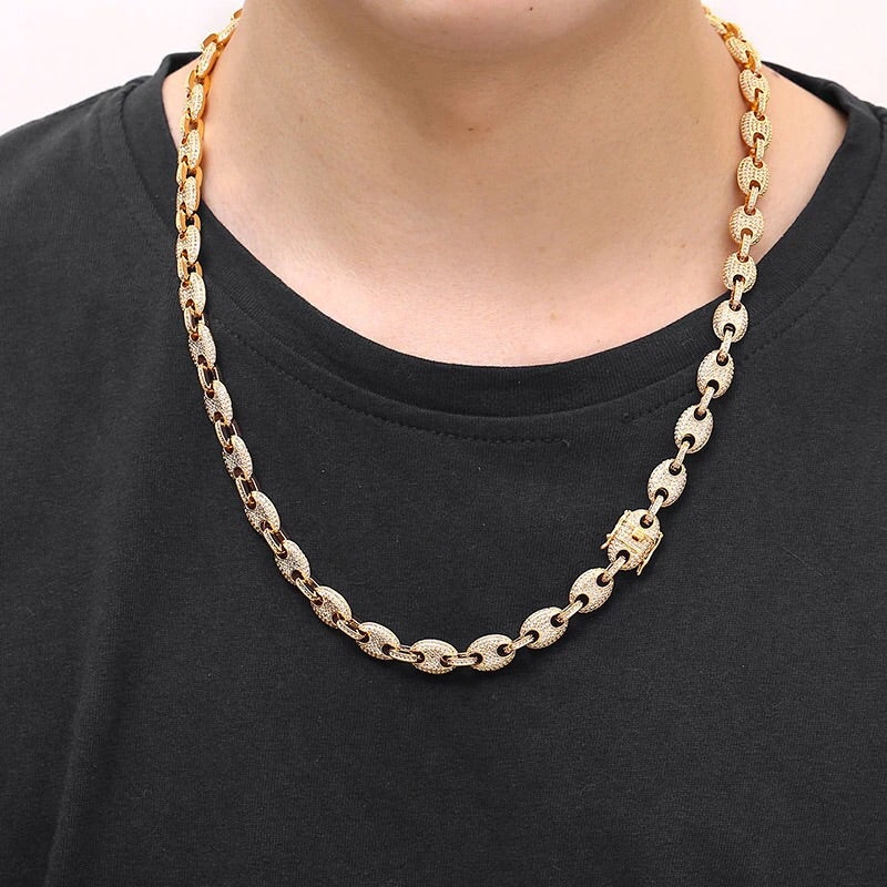 Gucci Link Chain >> 12mm Iced Gucci Link Chain In Yellow Gold Theicerack
