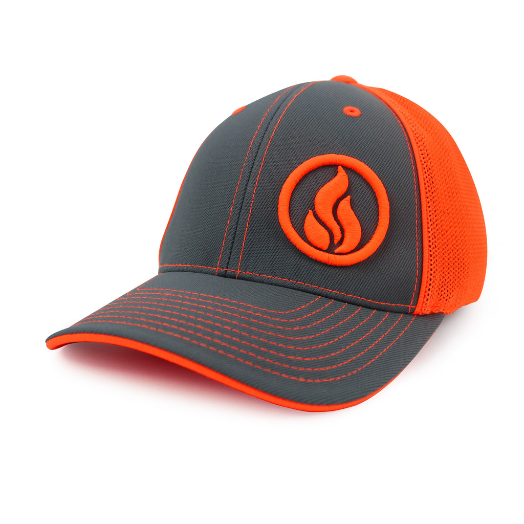 ab6f9ab7837 Elite Flame Trucker Mesh Back Hat in Graphite Neon Orange (Pacific 404M  Universal Fitted