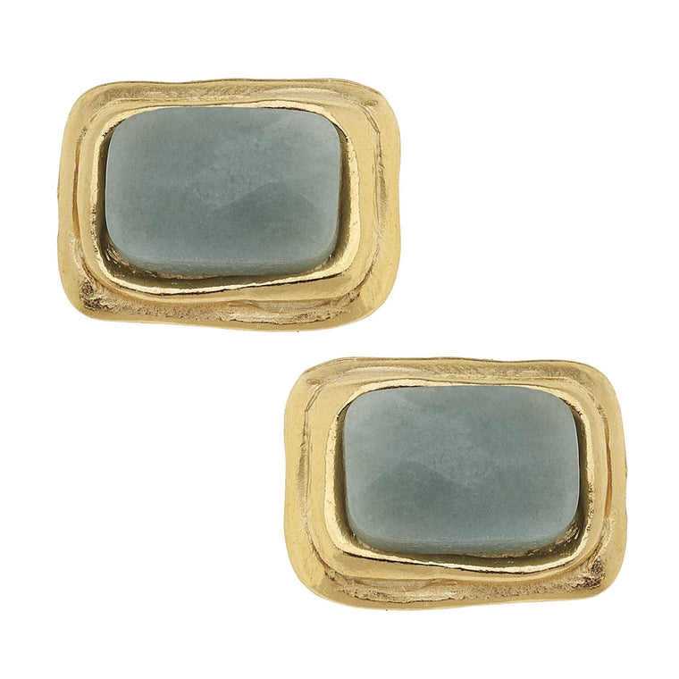 GOLD RECTANGLE AMAZONITE EARRING