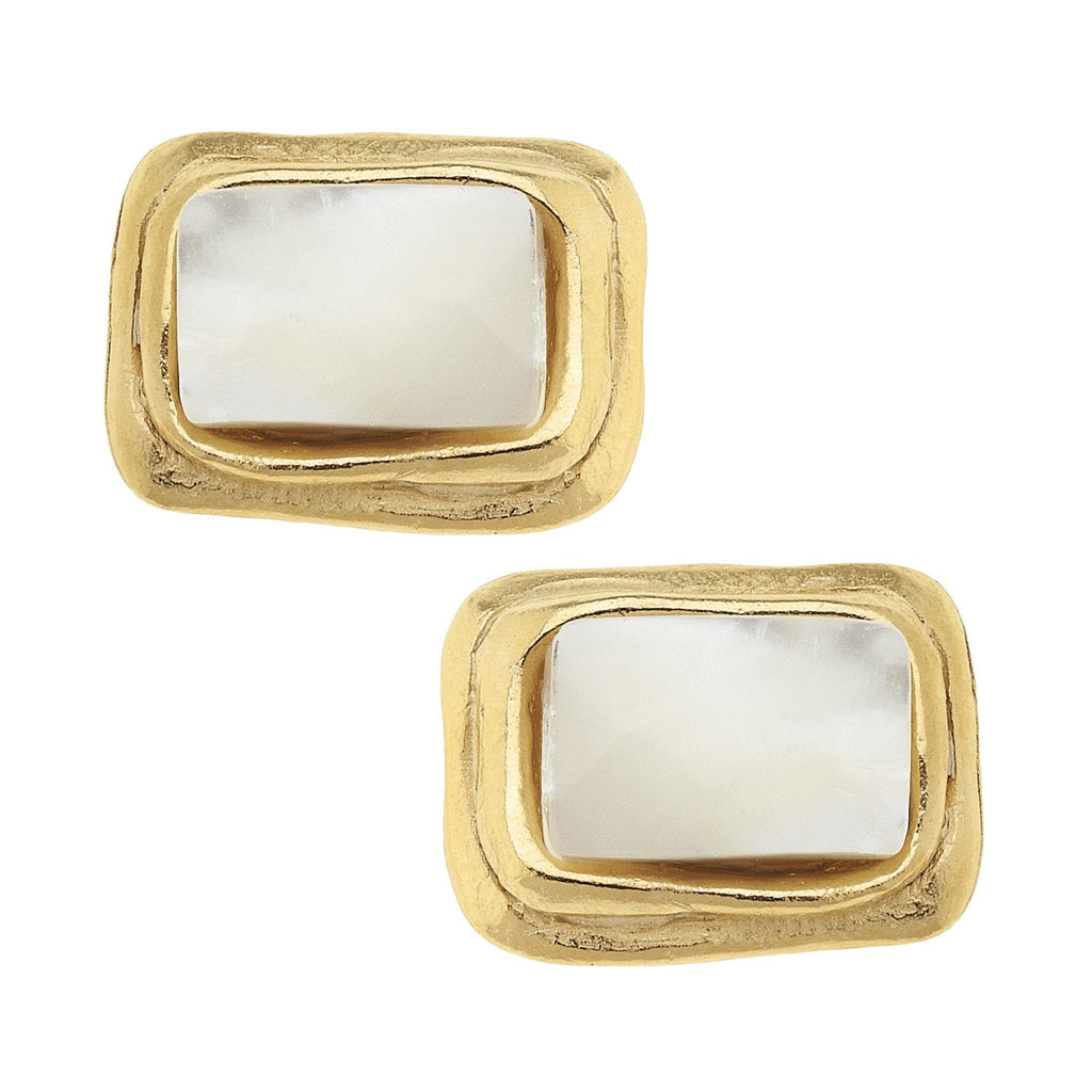 GOLD RECT MOTHER PERAL EARRINGS